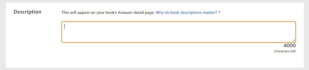 Amazon description field