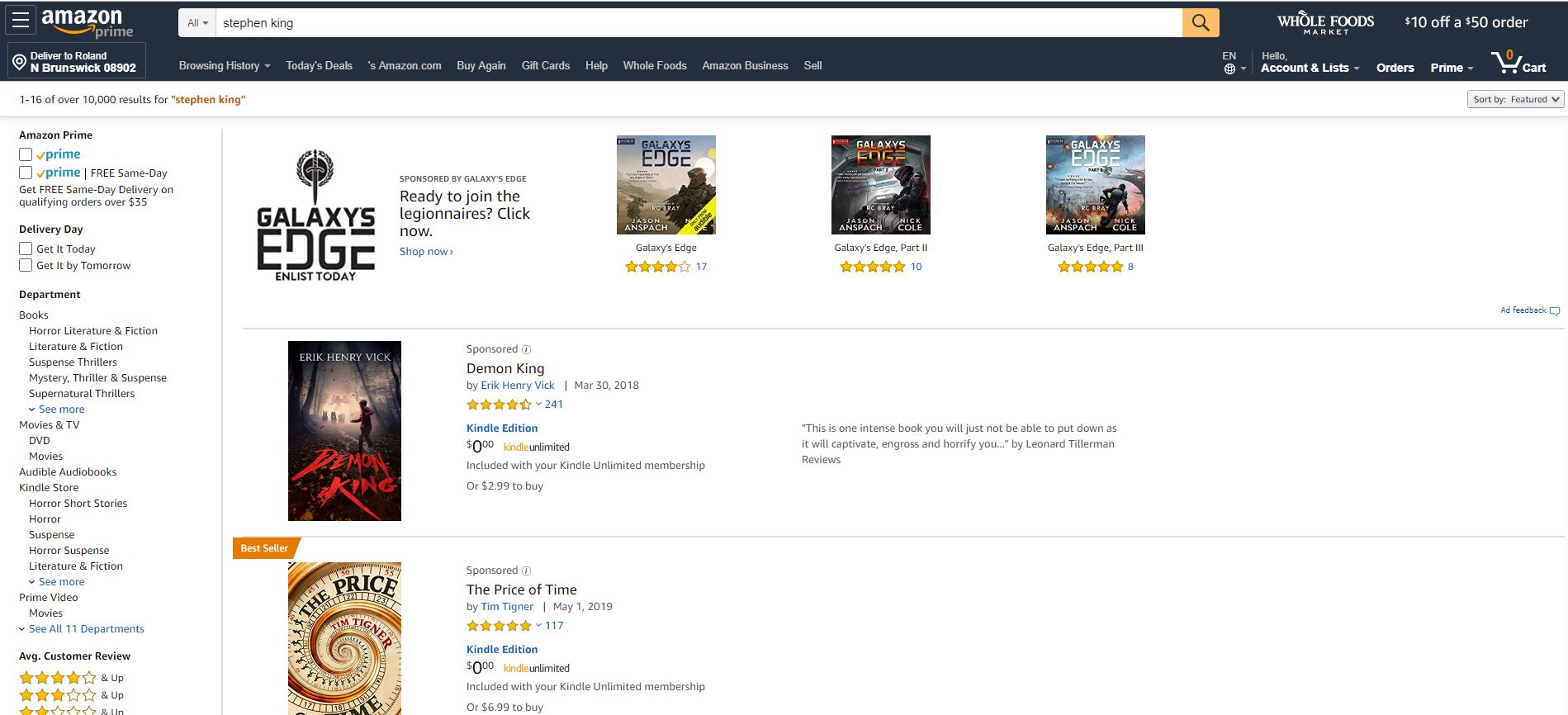 Amazon have obscured Stephen King's book in preference of Sponsored content.