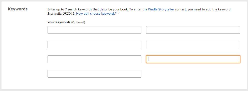 Amazon keyword fields