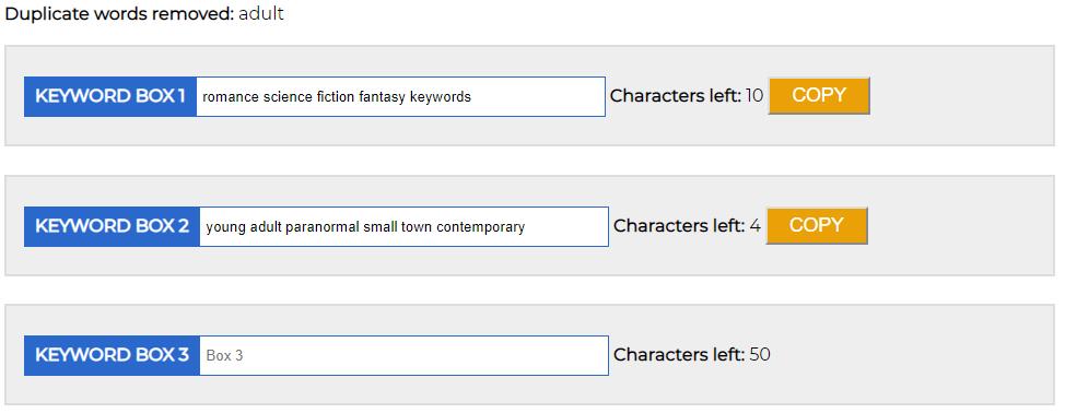 Keyword boxes